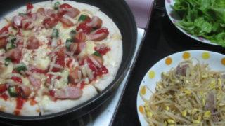 IMG 0076 320x180 - フライパンのピザと豆もやしの炒め物に葉サラダ