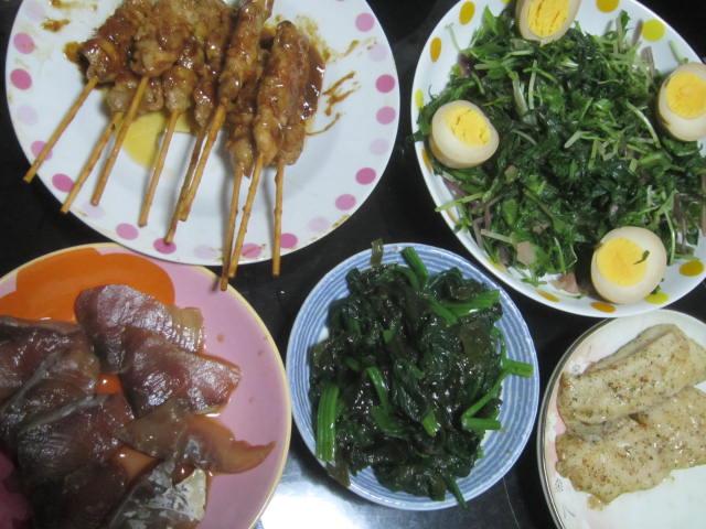 IMG 0021 - 昨日の刺身は漬けにして反動の野菜分と追加のヤキトリ晩御飯