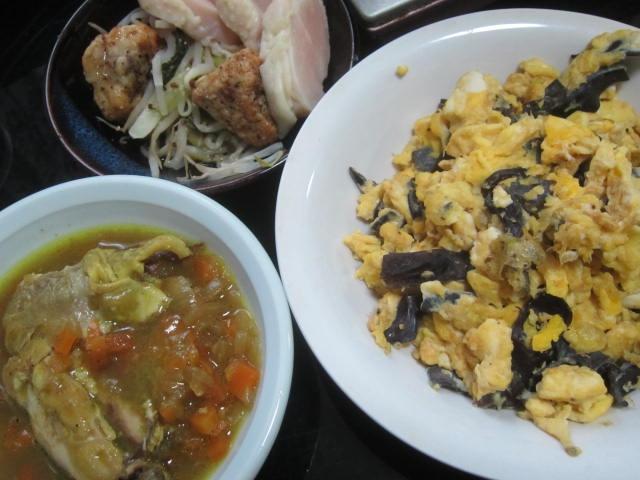 IMG 0003 - カレーの残りと鶏ハムと筋肉痛回復のための卵炒め