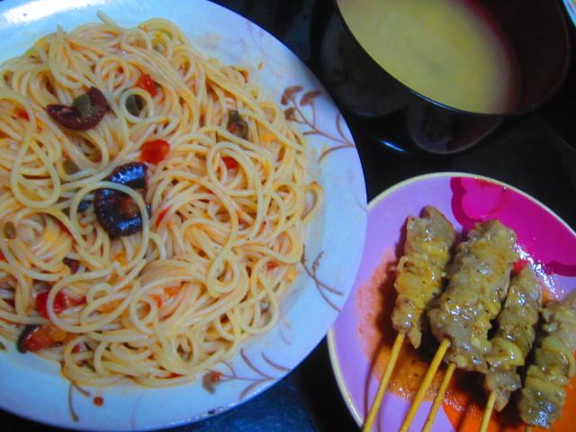 IMG 0042 - タコのプッタネスカと焼き鳥と味噌汁な晩御飯