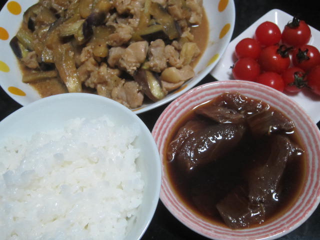 IMG 0088 - 茄子と鶏肉の炒め物にブリの漬けでシンプル晩御飯