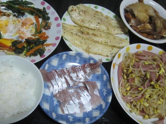 IMG 0065 - バサとカンパチな刺身に鶏の半身揚げその他なおかず沢山ご飯