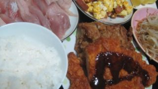 IMG 0001 320x180 - ロースカツと鶏のカラアゲと今日もブリ&卵な食事