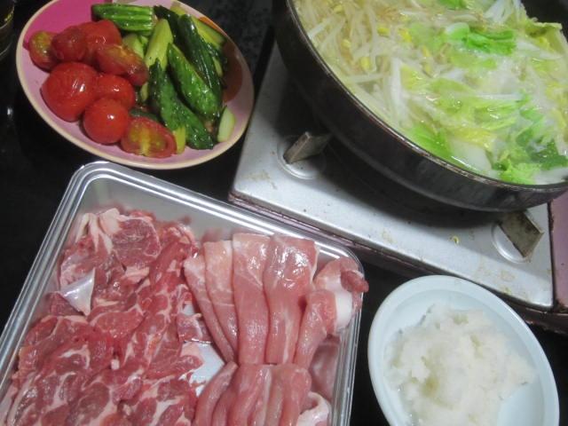 IMG 0017 1 - 白菜ともやしを大量に投入した鍋で肉しゃぶしゃぶ