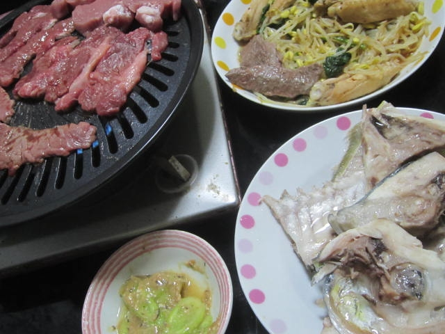 IMG 0045 - シマアジのアラを塩焼きにしたのとラム焼肉じんぎすかーん