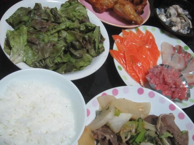 IMG 0032 - 野菜メインの筈がシマアジとマグロとサーモンに鶏肉と豚タンなタンパク質飯になった