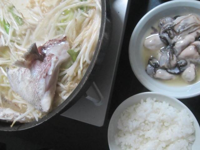 IMG 0035 - 真鯛のあら汁鍋と塩レモンなサロマ湖の生牡蠣