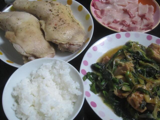 IMG 0019 - がっつりチキンレッグと鶏照り焼き&ほうれん草の中華風炒め