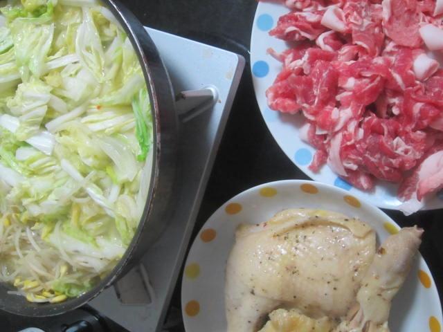 IMG 0054 - 骨付きチキンと白菜たっぷりなしゃぶしゃぶ鍋