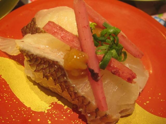 IMG 0009 - 寿司屋で食べた春独活の巻物と桜鯛の握り梅漬け春牛蒡乗せ