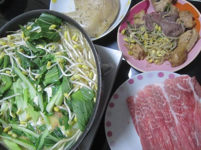 IMG 0040 - 霜降りっぽいロース豚でもやしたっぷり小松菜しゃぶしゃぶ