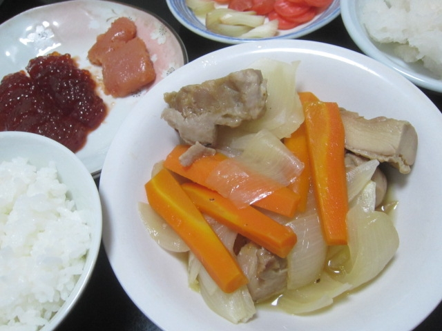 IMG 0022 1 - 筋子とタラコとニンジン+タマネギに鶏肉の煮込み