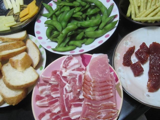 IMG 0047 - 筋子と生ハムとチーズと枝豆と切って炙ったフランスパン