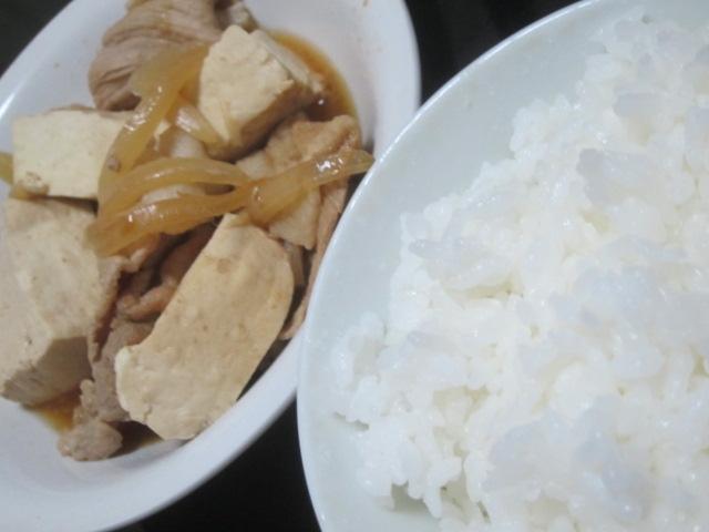 IMG 0047 - タマネギと豆腐と豚肉な肉豆腐で質素飯