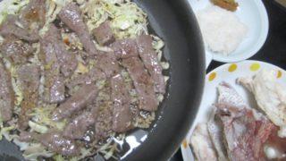 IMG 0035 320x180 - 肉載せキャベツの千切り炒めとタイのアラの塩焼き