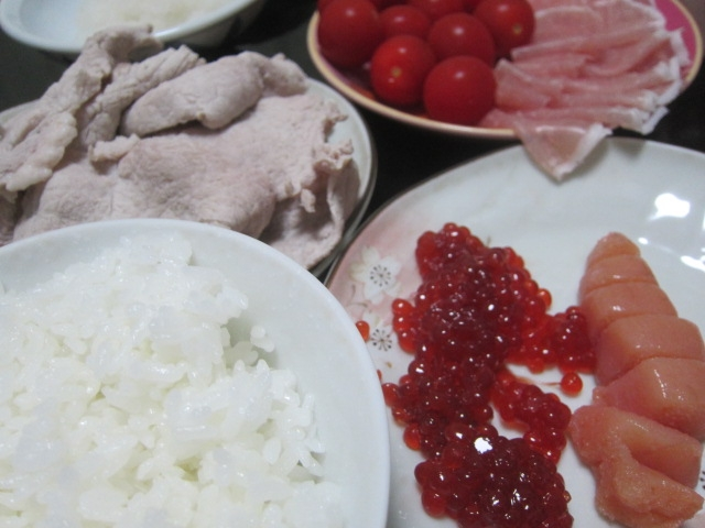 IMG 0074 - 豚の冷しゃぶと生ハムトマトの残りに魚卵な筋子たらこ