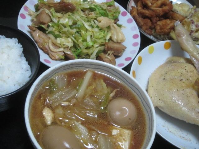 IMG 0021 - 鍋の残りのよくわからない汁物とレタス&鶏肉の炒め物