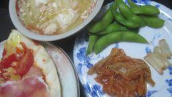 IMG 0098 250x141 - 刻んだトマトと生ハム乗せた自宅ピザに残り物スープIN卵と漬物