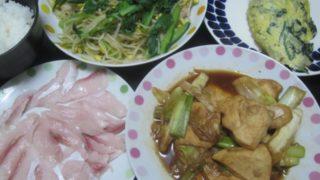 IMG 0119 320x180 - 鶏胸肉とネギ焼き炒めともやし小松菜炒めとほうれん草オムレツ