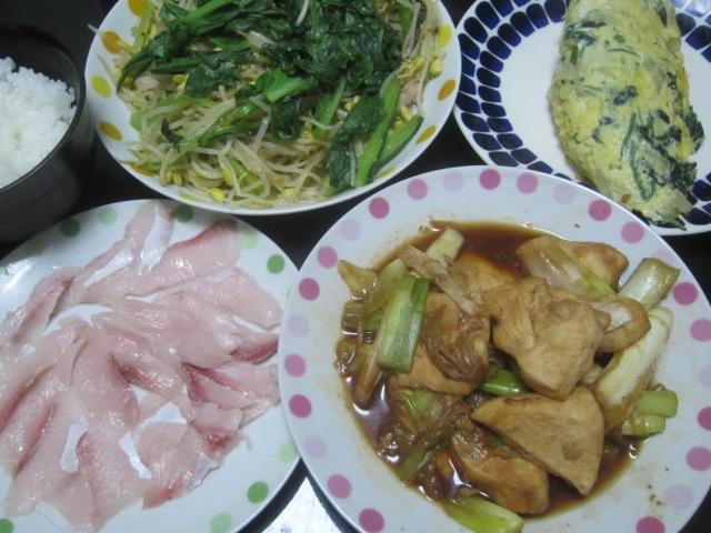 IMG 0119 - 鶏胸肉とネギ焼き炒めともやし小松菜炒めとほうれん草オムレツ