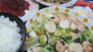 IMG 0042 320x180 - ホタテとエビの青梗菜炒めに豚タンのもやし炒めと筋子のアクセント
