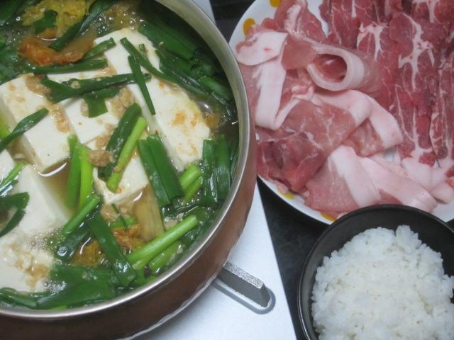 IMG 0051 - 銅鍋を貰ったので小ネギと白菜と豆腐での豚しゃぶ