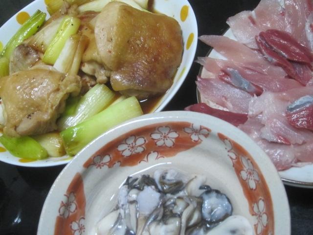 IMG 0053 - ネギたっぷりの鶏モモ肉の照り焼きにカキとブリ
