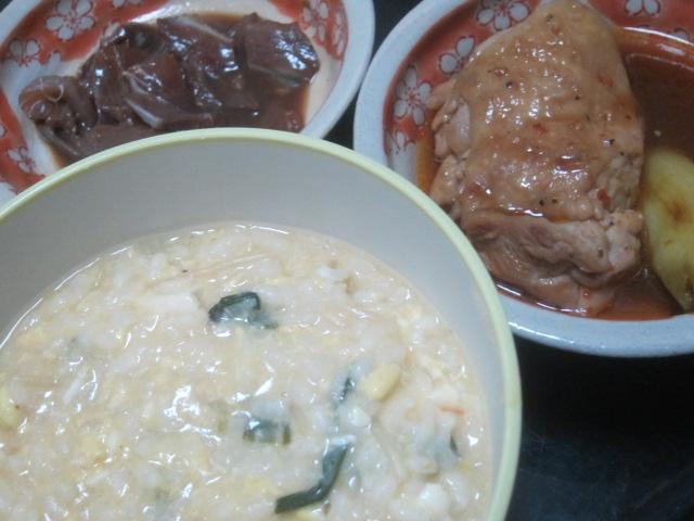 IMG 0059 - 鍋の残り物雑炊とブリの残りもの漬けと鶏照り焼きの残り物