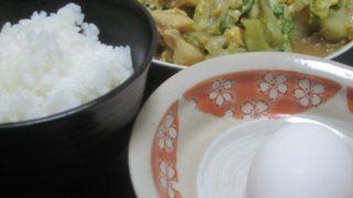 IMG 0066 320x180 - 卵かけご飯をメインにレタスと鶏皮の炒め物を副菜に