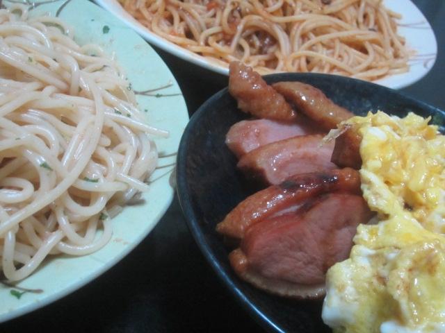 IMG 0010 - 2種のパスタと合鴨ロース肉にスクランブルエッグ