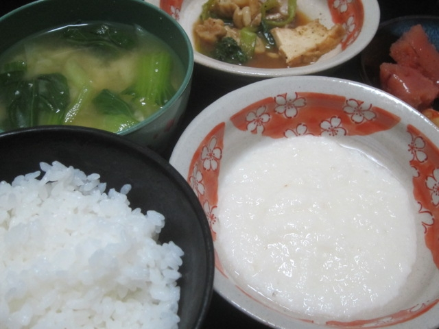 IMG 0052 - 長芋の摩り下ろしとろろご飯と豊富牛乳バニラプリン