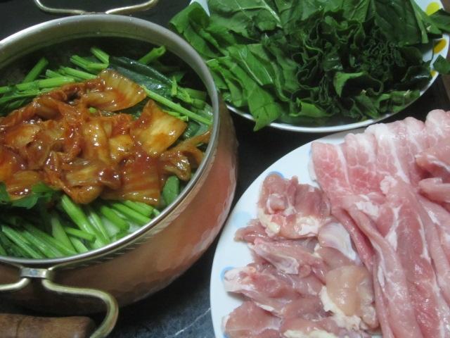 IMG 0017 - 小松菜白菜にサラダほうれん草で豚しゃぶ鍋
