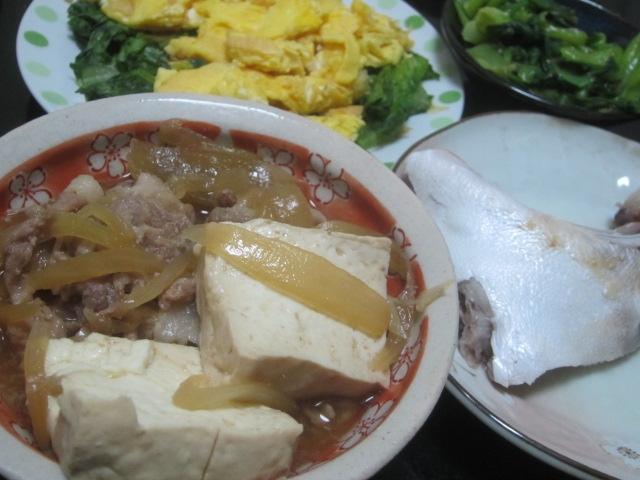 IMG 0033 - ブリカマと肉豆腐と葉モノ野菜をサラダと炒めで
