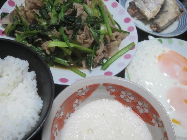 IMG 0005 - 小松菜と豚肉の炒め物にオイルサーディンとネバリスター
