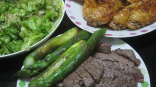 IMG 0025 320x180 - 牛モモステーキと手羽先の照り焼きとアスパラ焼き