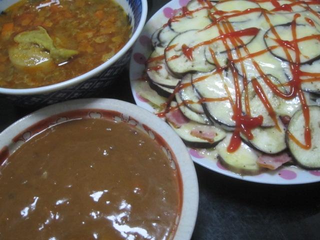 IMG 0296 - 最近チーズ食べ過ぎだろうか茄子チーズベーコンとカレー晩御飯