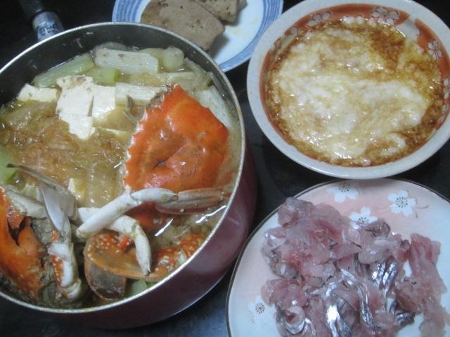 IMG 0368 - ワタリガニの味噌鍋と山芋とろろにアジのお刺身