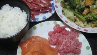IMG 0400 320x180 - 和歌山県産のマグロ中落ちとアジ&サーモン刺身にレタスの炒め物